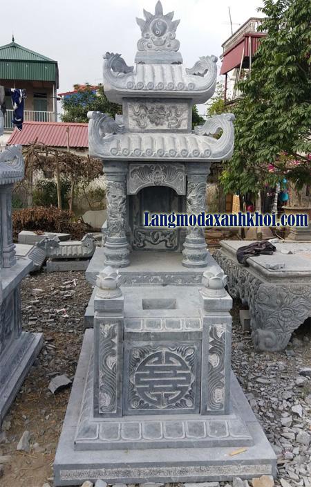 Mẫu lăng mộ đá theo phong thủy hai mái ấn tượng